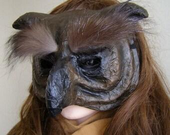 Halloween mask Masquerade mask Owl mask Bird mask Paper mache owl mask Animal mask Face mask Owl head