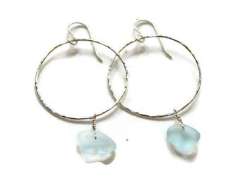 Sea glass earrings, sterling hoop earrings with sea glass, hammered hoops