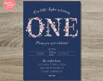 Pink and Navy First Birthday Girl Invitation Custom Printable // 5x7 Girl Invite Sweet Floral - Girls 1st Birthday Invitation Floral Letters