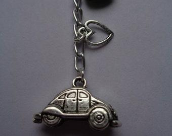 VW Beetle type car charm key ring, key chain