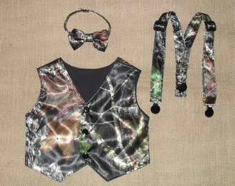 3pc Boys vest,bow tie&Suspenders.Great for weddings NB to size kids10 . Mossy Oak-Satin fabric #1 in fabric selection  22 Other camo colors