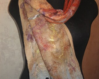 Felted scarf Wool, viscose , silk fibers and rumney