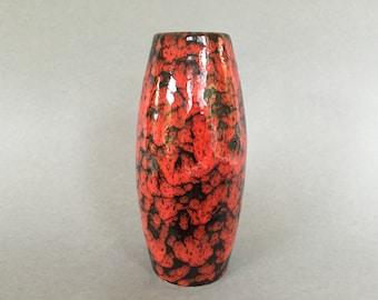 Scheurich  522 - 18  Red / Black decor ,  Mid Century Modern  1960s   Stunning Fat Lava glaze Vintage vase West Germany Pottery,  WGP vase.