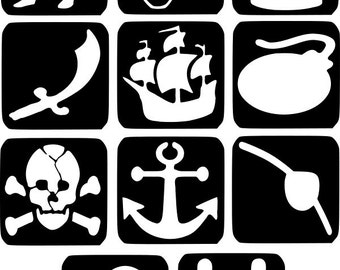 Refill Stencils Only #12 - 11 X Pirate Glitter Tattoo Stencils Refill Your Glitter Tattoo Kit