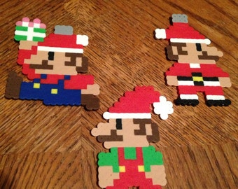 Super Mario | Christmas | Ornament | Set | Nintendo | Mario | Santa | Perler Beads | Perler Art