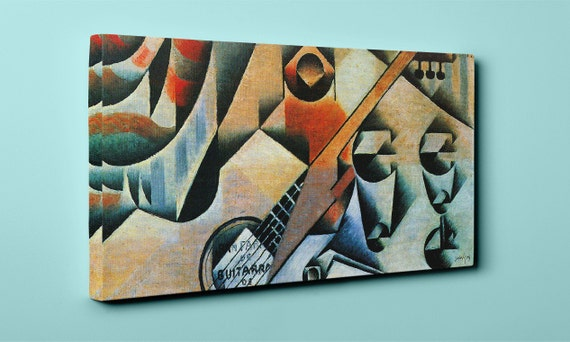 Banjo guitar and glasses | Juan Gris Mirror Wrapped Canvas