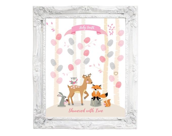 Thumbprint Tree Guest Wall Art - Woodland Baby Shower / Baby Shower Decor /  Guestbook Wall Art / Fingerprint Tree / Woodland Animals