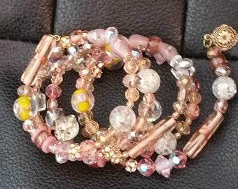 Bohemian Lampwork Rhinestone Beaded memory wire bracelet