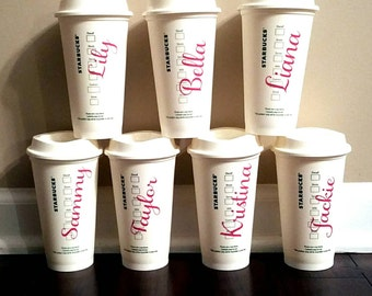 Set of 5 Personalized Coffee Cups Travel To Go Cup Mug Coffee Tea Latte Mug w/ Lid Customized 16 oz Tall bridesmaid gift For Her