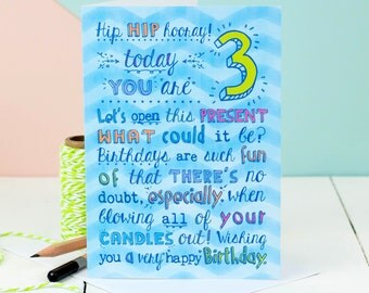 3rd Birthday Card; Choice Of Pink Or Blue; Card For Three-Year-Old; Children's Age Cards;