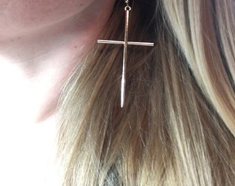 Big Cross Earrings: Silver or Gold