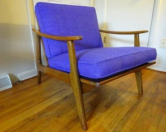 Danish Mid Century Lounge Chair w/Purple Cushions