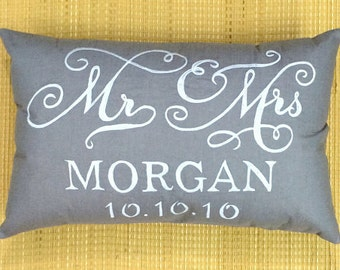 Sale MR and MRS pillow His and Hers pillow Personalized Wedding Name and Date Pillow Valentine Anniversary Gift