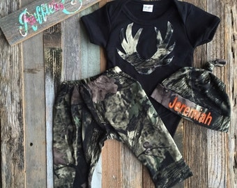 Camo pant set, deer antlers, infant pant set, take home, baby boy outfit, baby shower gift, little hunter, daddys boy