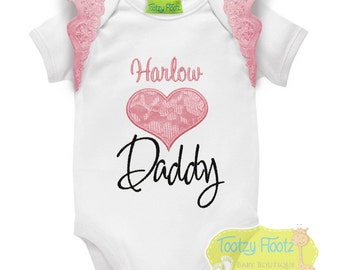 Father's Day Gift - Personalised Pink Lace Heart with Flutters Onesie / Tee / Bodysuit - First Father's Day / Daddy / 1st Father's Day Gift