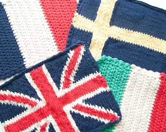 Crasty Flap/ Irma / Changeable crochet and knitted flap in cotton with flag pattern, choose your clutch flag, gift for her