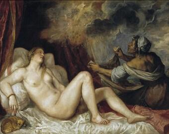 Titian: Danae Receiving the Golden Rain. Fine Art Print/Poster. (001943)