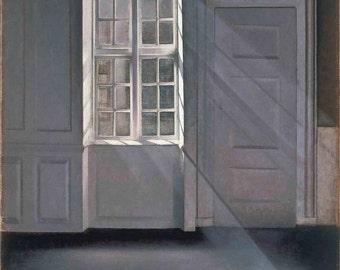 Vilhelm Hammershoi: Dust Motes Dancing in the Sunbeams. Fine Art Print/Poster (00493)
