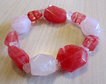 Rose Quartz and Dark Pink Stretch Bracelet
