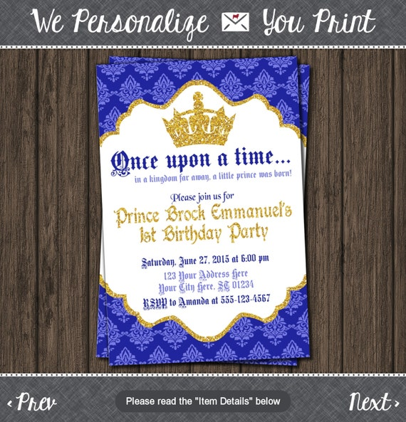 Prince Birthday Invitation First Birthday Invitations Royal Blue