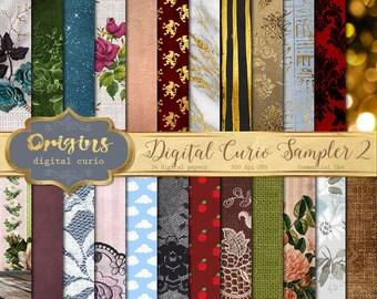 70% OFF Digital Paper Sampler Variety Pack 2 - Promotional Item, sample textures, scrapbook paper, digital backgrounds, commercial use
