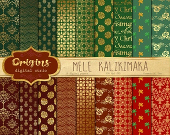 Hawaiian Christmas Digital Paper,  Mele Kalikimaka Hawaii Tropical Patterns Scrapbook Paper Pack, Backgrounds, Gold and Red Green printable