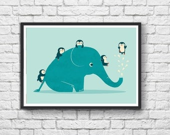Art-Poster 50 x 70 cm - Penguins and Elephant