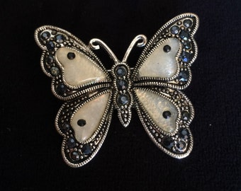 Black and white jeweled butterfly pin