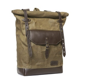 Olive green waxed canvas backpack. Waxed canvas leather backpack. Brown leather backpack/rucksack. Waxed canvas bag.