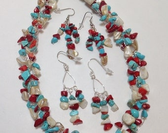 Natural Mother of Pearl, Red Bamboo Coral, Turquoise, Non Tarnish Silver Plated Wire, Wire Crochet, Necklace, Earrings