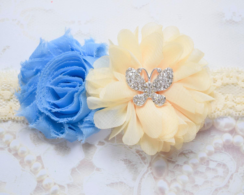 Blue Flower Headband Yellow Flower Headband Butterfly