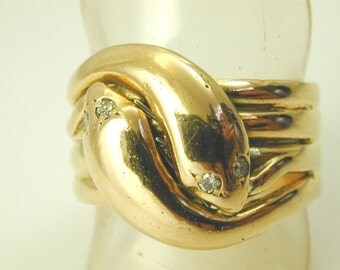 Antique Victorian double Snake ring diamond 18ct gold 1880s size W 19.7g