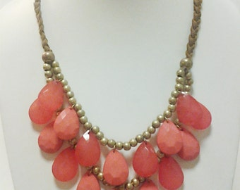 Gold Beaded Two Strands Tear Drop Pink Necklace / Pink and Dark Pink Tear Drop Necklace.