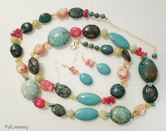 Turquoise and Crystal Long Necklace / Natural Stones Beaded Necklace / Gift for Her / Gift Ideas