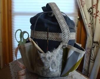 Workbasket sewing basket,wool basket Patchwork Shabby
