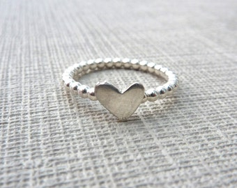 Sterling Silver Heart Ring. Delicate ring. Heart ring. Engagement ring. Ring for her. Womans ring. Delicate heart ring. Skinny ring.