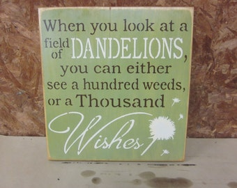"""Handmade Wood Sign """"Dandelion Wishes"""" (12x12 inches)"""