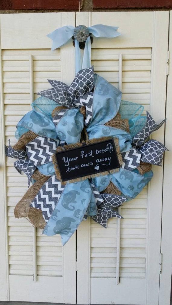 Welcome Baby Wreath Boy Nursery Elephant Nursery Blue Gray