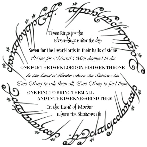 Lotr Wall Art The One Ring Poem Lord Of The Rings The