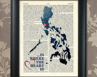 Philippines Map, Philippines Print, Philippines Art, Philippines Poster, Philippines Pride, Philippines Decor, Philippines Gift, Present
