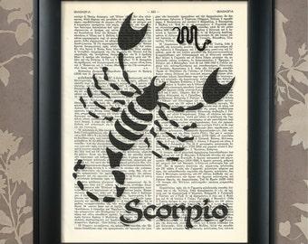 Scorpio Zodiac Print, Scorpio Poster, Scorpio Print, Scorpio art, Scorpio wall art, Scorpio Gift, Scorpio Present, Scorpio Birthday