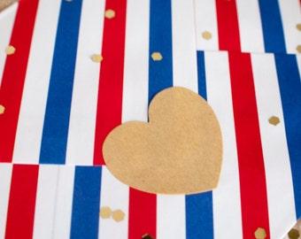 Heart shaped blank kraft paper stickers