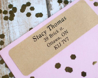 Serif traditional brown kraft sticker return address label