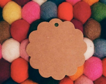 50 Round Scalloped Kraft Tags, Gift Tags, Hang Tags, Product Tags - 6cm