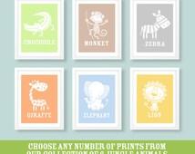 Childrens jungle prints , nursery wall art, animal wall art, jungle nursery prints, nursery decor, kids bedroom, kids decor, kids room
