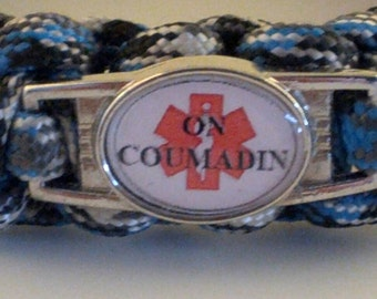 Coumadin Paracord Medical Alert  Bracelet, Blood Thinner, warfarin, Free Shipping