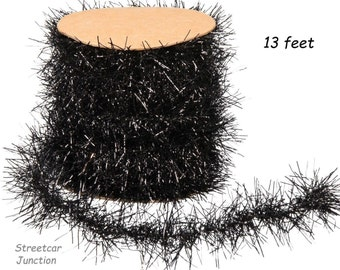 13 feet BLACK Tinsel Garland - Great for Feather Trees & embellishments