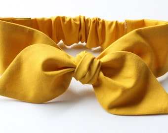 Mustard Baby Headband - hair bow in plain solid mustard yellow