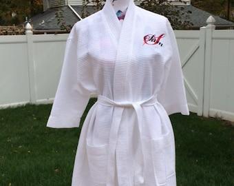 Waffle Kimono WHITE Short Robe Square Pattern - Personalized Monogrammed - Wedding Bride Pool Spa Robe