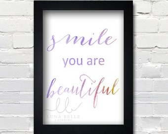 Smile you're beautiful watercolor 8x10 print PRINTABLE Instant Download